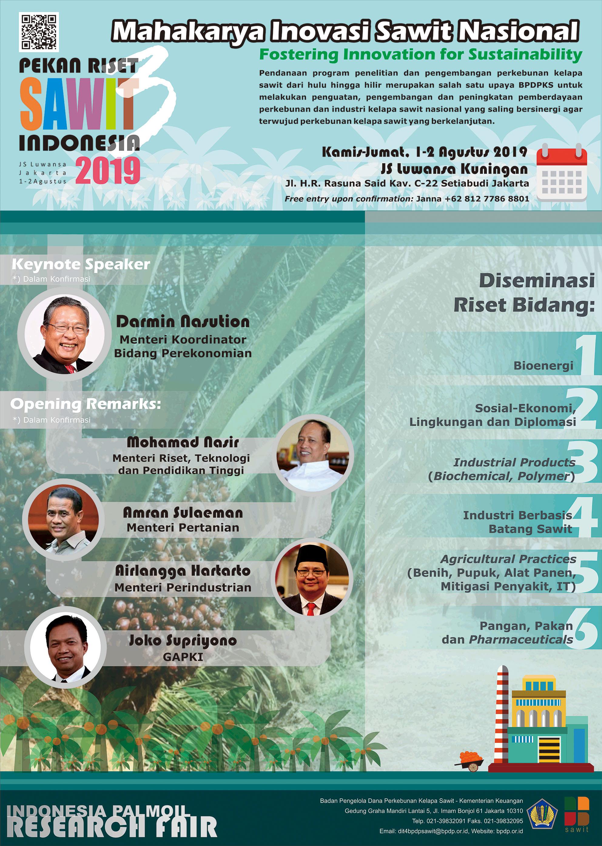Pekan Riset Sawit Indonesia 2019: Mahakarya Inovasi Sawit Nasional